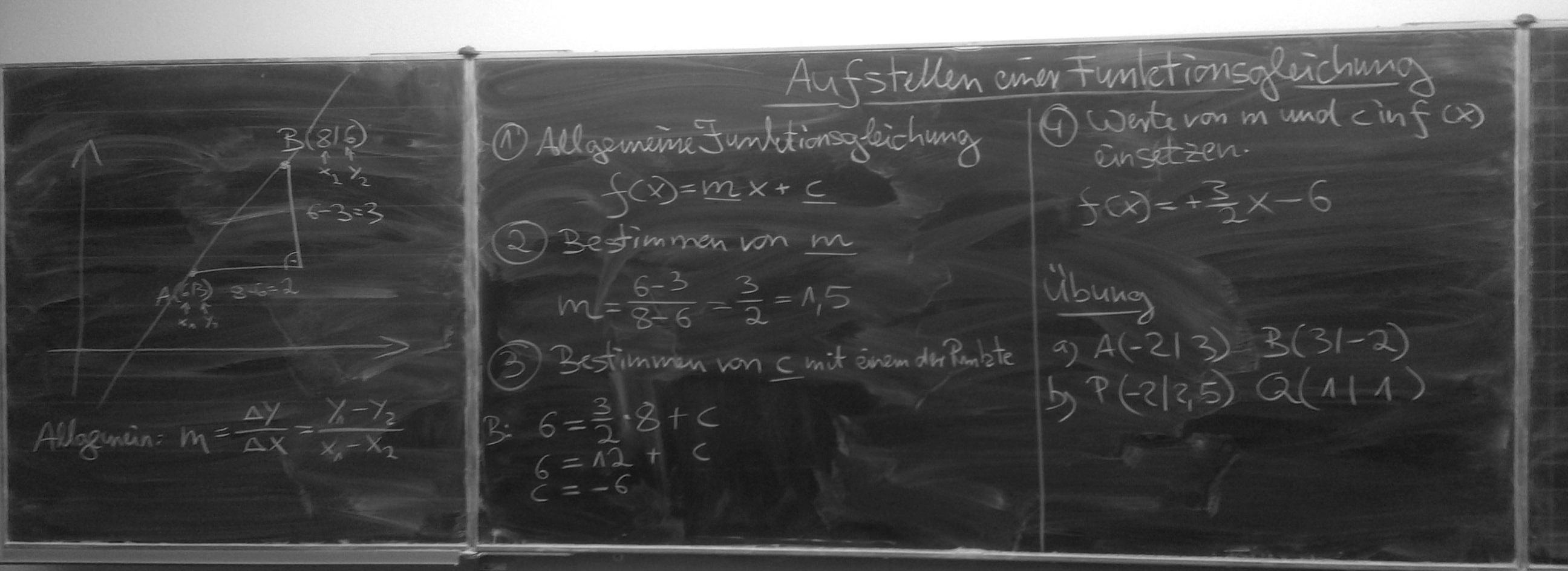 Aufstellen einer Funktionsgleichung - Lineare Funktion - Tafelbild