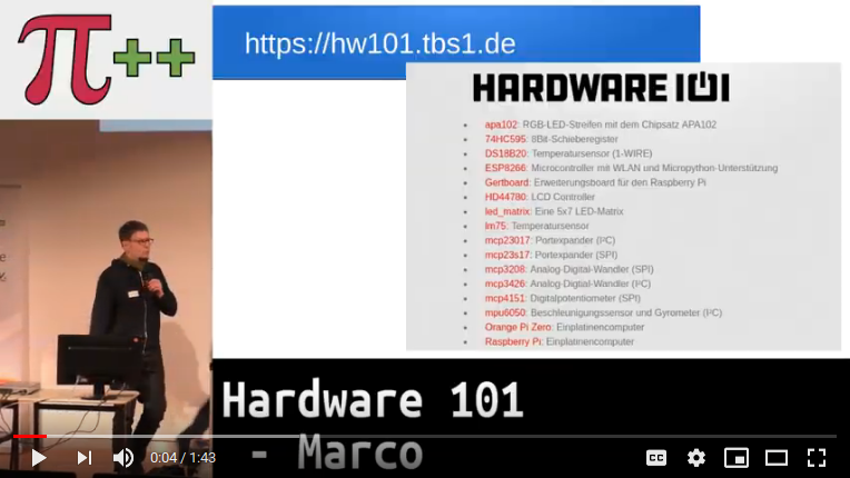 Lightning Talk zum Hardware 101 (bei YouTube)